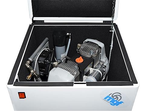 Безнаслен компресор с мембранен изсушител модел MINI BOX 24/10 GENESI M 120 l/min. – MGF – Италия
